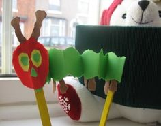 "Use popsicle sticks or pencils to have students create their own accordion-style Very Hungry Caterpillar. These would be so fun for a ""crawling"" activity to explore the room."