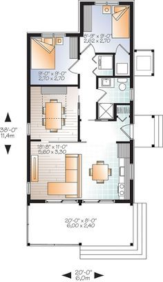 W1907   Modern Rustic 700 Sq.ft. Tiny Small House Plan, Very Versatile, 3+  Bedrooms, Large Covered Deck. Basement ApartmentApartment ...