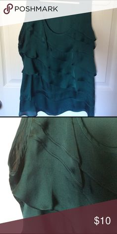 Forest green ruffled tank. Forest green ruffled tank. 100% polyester. Scoop neck. Forever 21 Tops Camisoles