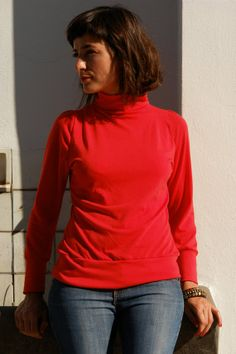 SOLD OUT Designed in 2009 Made to Order Women Tshirt  Turtleneck long sleeves  REBEL  all by holacrystal, $49.00  #etsy #long sleeved #handmade #tshirt #byolinda #holacrystal #crystal #customizable #plussizes