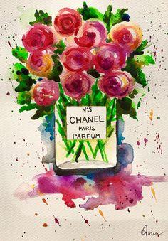Chanel Fashion Original Art   Bouquet of Flowers by annafui