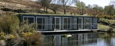 Wondrous Prefab Cargo Container Homes for House Collection : Adorable Shipping Container House Design On The Fresh Water Surrounded By Busses And The Trees Container Home Designs, Cargo Container Homes, Container House Plans, Container Houses, Container Cabin, Container Buildings, Shipping Container Office, Shipping Containers, Architecture Artists