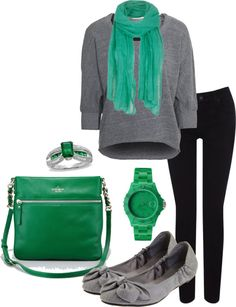 """Fall/ winter outfit ideas. Grey sweater. Emerald green scarf. Black pants. """"gray & emerald"""" by angelina-sorice on Polyvore"""