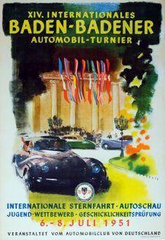 Baden Baden Car Tournament 1951 Porsche 356 - original vintage poster by Mundorff listed on AntikBar.co.uk