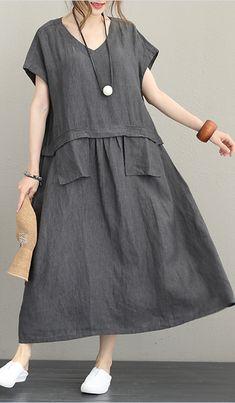 44078bde13f Top quality orange linen dress plus size o neck linen maxi dress women  short sleeve patchwork dress. Baggy DressesPlus ...