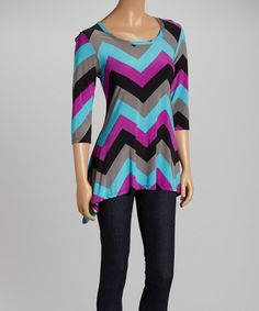 Look what I found on Purple & Blue Chevron Three-Quarter Sleeve Top by GLAM Blue Chevron, Spring Tops, Quarter Sleeve, Love Story, Purple, Lady, Blouse, Clothes, Shopping