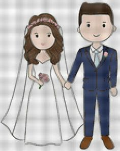 Very sweet X-stitch bride & groom chart Cross Stitch Family, Tiny Cross Stitch, Cross Stitch Kitchen, Hand Embroidery Stitches, Machine Embroidery Patterns, Cross Stitch Embroidery, Wedding Cross Stitch Patterns, Cross Stitch Designs, Le Point