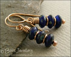 Bronze and Picasso rondelle stack earrings