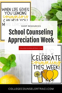 Not sure what to do for National School Counseling Week? College and career readiness starts with honoring the counselors that help your students achieve greater! This quick and low-prep lemonade themed celebration set is perfect for praising the counselors in your school!  Shop College Counselor Traci for more ideas! #schoolcounseling #nationalschoolcounselingweek #NSCW #counselorappreciation College Success, College Hacks, Counselor Bulletin Boards, Counselor Office, Online College, Education College, National School Counseling Week, Types Of Education, College Library