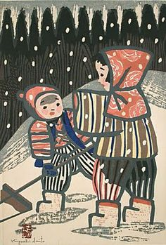 Kiyoshi Saito (1907-1997) - Children Shoveling Snow. Mom had two big Japanese wood prints of children playing in my bedroom when I was growing up. One was children playing in the snow, the other was children choosing goldfish in a store.