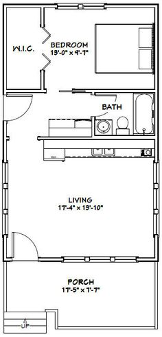 "18x30 Tiny House -- #18X30H1A -- 540 sq ft - Excellent Floor Plans. Add another 60-100 sf to widen the middle section for greater wheelchair accessibility in the hall and bathroom, and this is a great ""granny pod."" Pics of the exterior are nice, too. And you could add a garage at the side, pretty easily."