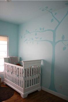 Baby blue birds on a blue tree Baby Blue Nursery, Nursery Neutral, Baby Boy Nurseries, Girl Nursery, Girl Room, Nursery Inspiration, Nursery Ideas, Room Ideas, Decor Ideas