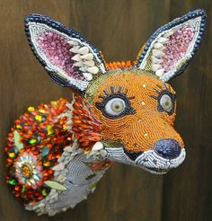 bead sculptures by Betsy Angkvist This is ABSOLUTELY, my next project!!! But, I think I will o a giraffe head. Cool Stuff