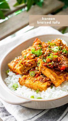 Tasty Vegetarian Recipes, Veggie Recipes, Cooking Recipes, Healthy Recipes, Vegetarian Korean Food, Spicy Food Recipes, Vegetarian Asian Recipes, Vegan Tofu Recipes, Tofu Dinner Recipes
