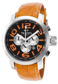 TW Steel TW52 Watches,Men's Grandeur Chronograph Orange Genuine Leather Black Dial, Casual TW Steel Quartz Watches