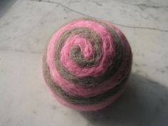 One multi-colored felted pin-cushion, Pink and Gray by Dreamcrafter on Etsy