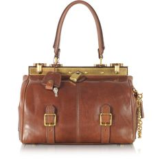 The Bridge Handbags Icons Alyce Small Leather Satchel ($1,695) ❤ liked on Polyvore featuring bags, handbags, dark brown, hand bags, leather satchel purse, brown leather handbags, leather satchel handbags and brown satchel purse