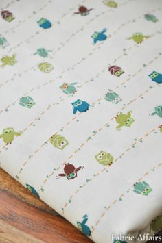 Pure Cotton Fabric FQ Cute Funky Animal Green Blue Owls on Wire