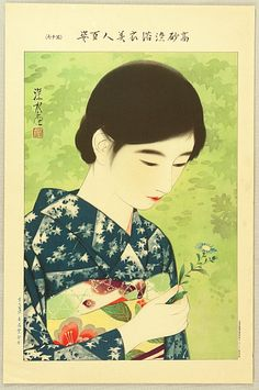 'Beauty and Blue Flower', from the series one Hundred Beauties in Takasago-zome Light Kimono,  advertisement, by Ito Shinsui,1931