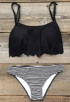 $26.99 Only with free shipping Now! Add some stripes to your beach look! This summer must-have comes in falbala hem&high leg cut! What's more? Get it and you will find out at Cupshe.com