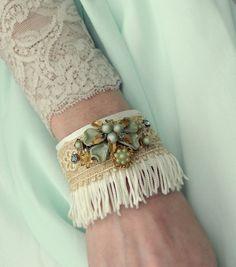 leather and lace cuff bracelet Fabric Bracelets, Lace Bracelet, Handmade Bracelets, Cuff Bracelets, Handmade Jewelry, Chic Wedding, Wedding Bride, Wedding Jewelry, Rustic Wedding