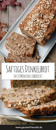 Schnelles Dinkel-Vollkornbrot - super saftig Fast and super juicy spelled bread with nuts and seeds - the healthy bread is prepared in just 10 minutes and tastes super juicy and delicious. Dessert Sans Gluten, Desserts Sains, Baking With Kids, Healthy Dessert Recipes, Bakery, Food And Drink, Easy Meals, Bread, Snacks