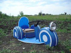 Старые шины: источник вдохновения и фантазии - машинка