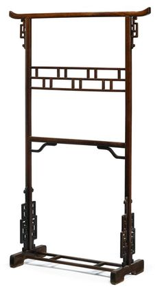 Chinese Huanghuali and Hardwood Garment Rack 19th century H: 60 3/4 in. W: 37 in. (FREEMAN'S AUCTIONEERS)