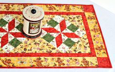 Christmas Table Runner Quilted Table Topper by RedNeedleQuilts