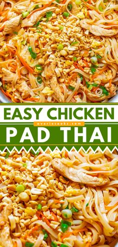 Chicken Pad Thai (EASY 20-Minute Recipe!) - Averie Cooks Easy Chicken Recipes, Easy Dinner Recipes, Asian Recipes, Crockpot Recipes, Ethnic Recipes, Chicken Meals, Easy Recipes, Coconut Lime Chicken, Pinterest Recipes