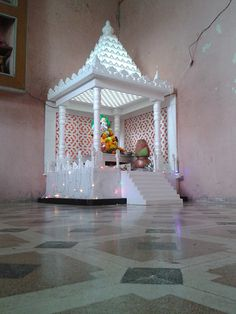Maybe- if we can source it Temple Room, Home Temple, Ganesh Chaturthi Decoration, Temple Design For Home, Mandir Design, Garden Furniture Design, Ganapati Decoration, Pooja Room Door Design, Bedroom Cupboard Designs