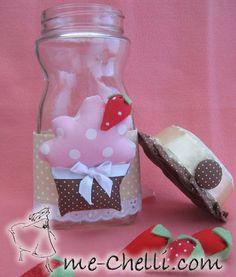 Vidro de café solúvel reutilizado - Cupcake