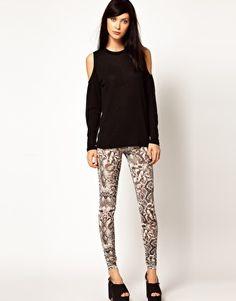 Emma Cook Leggings in Snake Print Silk Mix Jersey