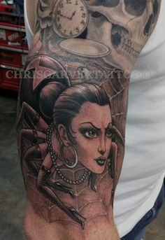 Black Widow Spider Lady Tattoo by Chris Garver