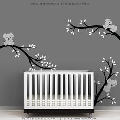 Kids Black Wall Decal Baby Nursery Room Decor - Koala Tree Branches by LittleLion Studio