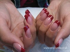 Pink and red French mani. Valentines.