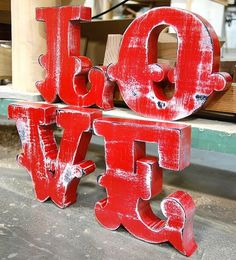 LOVE... painted distressed wooden blocks