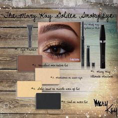 Golden Smokey Eye. Like this? Learn more tips & tricks with me. Contact me for 10% off.. text/call- 540-330-2255 email- kellywilson2012@marykay.com, or website- www.marykay/kellywilson2012 write pintrest in comments!