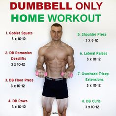 This is a full body workout that only utilises dumbbells. Depending on the weight of the dumbbells that you have access to, you may need to do higher reps in order for the exercises to be challenging. This is just one example and you could always incorpor Workout Plan For Men, Body Workout At Home, At Home Workouts, Men Exercise, Cardio Workouts For Men, Workout Plans, 300 Workout, Food Workout, Push Up Workout