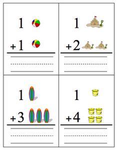 Fun in the Sun Addition Flashcards Math Addition flash cards {printable} Addition Flashcards, Math Addition, Preschool Writing, Teaching Math, Math For Kids, Lessons For Kids, Kindergarten Math Worksheets, Math Activities, Math Stations