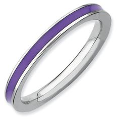 Stackable Expressions Sterling Silver Purple Enameled 2.25mm Ring. Available in sizes 5-6-7-8-9-10. Also in colors red, blue, green, orange, yellow, pink, black, and brown. Sale Price $20.