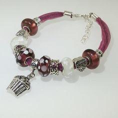 European Charm Bracelet Handmade Purple Plum Cupcake by BekisBeads