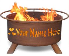 Personalized Hearts Fire Pit
