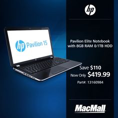 Save $110 on an HP Pavilion Elite notebook with 8GB RAM and 1TB HDD at MacMall.