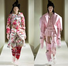 Comme des Garçons Designer Rei Kawakubo 2016-2017 Fall Autumn Winter Womens Runway Catwalk Collection Looks - Paris Fashion Week Mode à Paris France - Samurai Japanese Warrior Armor Plates Tiered Jacquard Upholstery Corset Flounce Furbelow Straps 3D Flowers Floral Organic Shape Deconstructed Quilted Puffer Panels Layers Structured Furry Tubes Donuts Gown Haute Couture Ruffles Bell Headwear Pagoda Boxy Coat Jacket Curved Hem