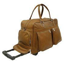 Piel Leather Multi Pocket Duffel On Wheels