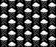 rain cloud bw fabric by charlottewinter on Spoonflower - custom fabric