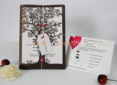 100pcs paper cut tree wedding invitation set by WeddingFavorStore, $350.00