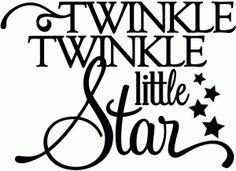 twinkle twinkle little star - vinyl phrase, try on a block with twinkle lights in it
