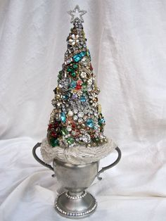 Vintage Jewelry, Rhinestone Christmas Tree Decorated In Vintage Silver Sugar Bowl